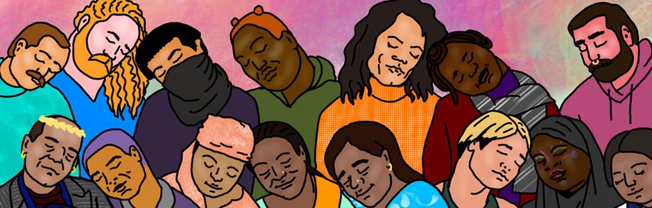 """Ілюстрація до програми """"Радикальна любов"""". Цифровий малюнок. Різноманітні героїні та герої фестивальних стрічок із заплющеними очима спокійно і з любов'ю схиляють голови одне до одного."""