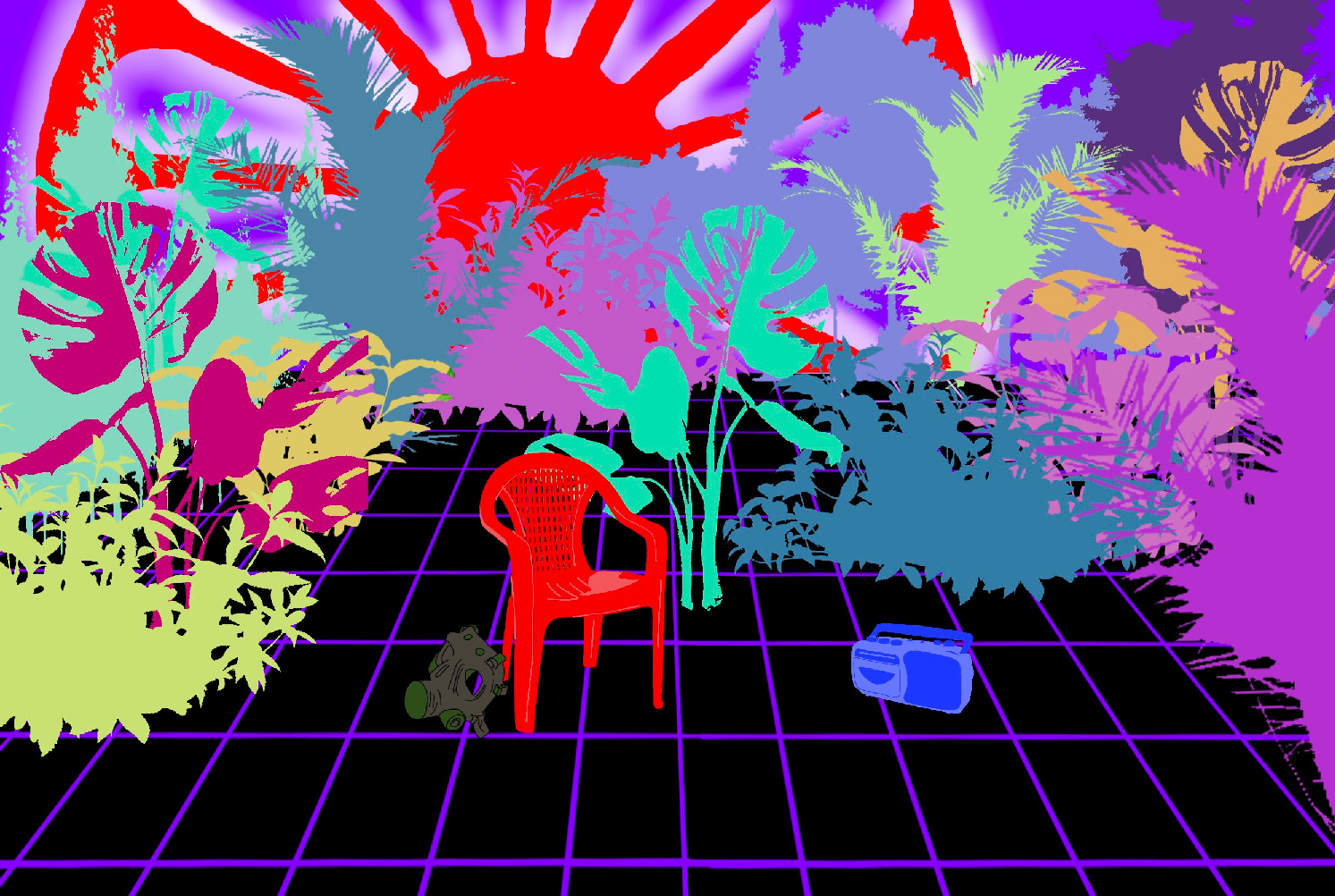 """Illustration for the program """"Possilbe Utopias"""". Digital drawing. Neon colors. Colorful plants. A red plastic chair, a violet radio and dark grey gas mask in the foreground. Red sun taken from the Roma emblem is glowing in the background."""