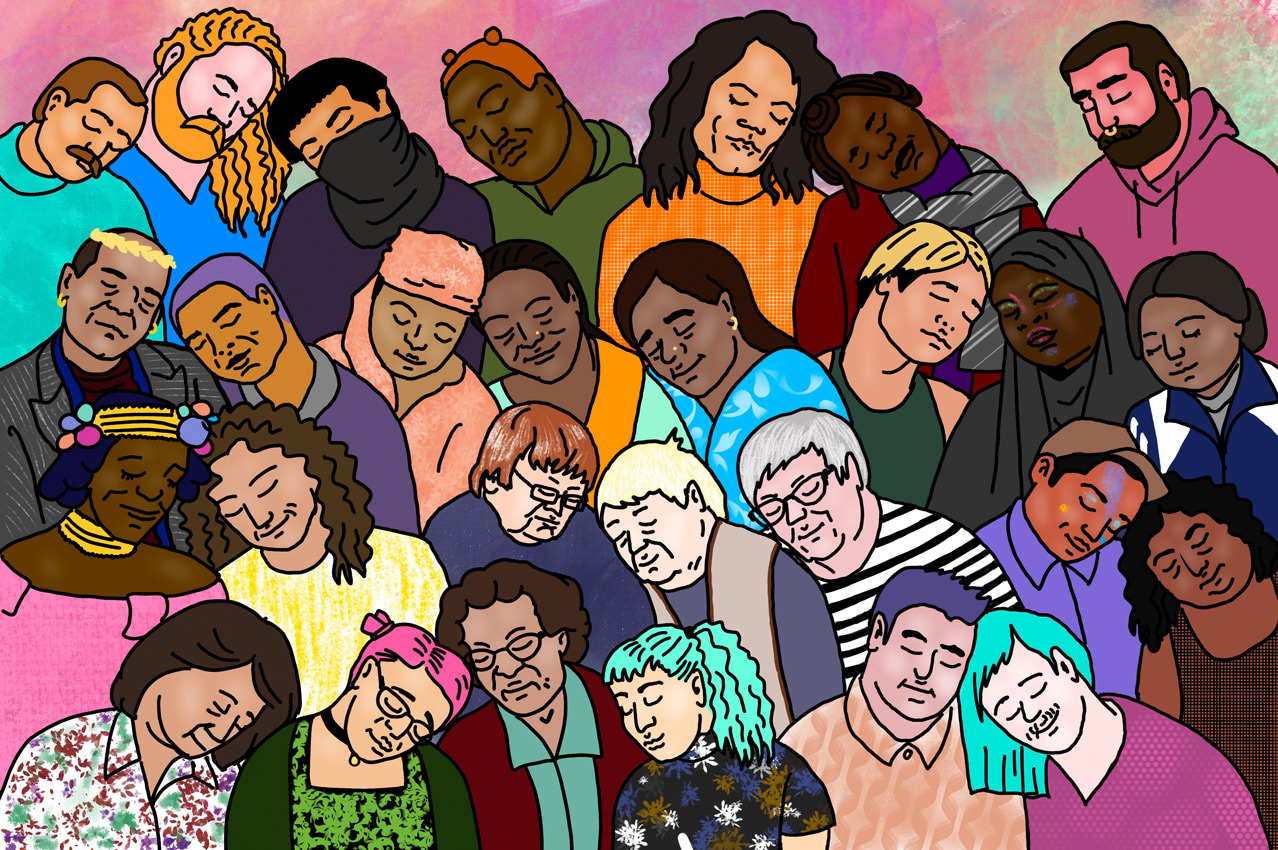 """Illustration for the program """"Radical Love"""". Digital colorful drawing. Different protagonists of the festival movies calmly lean their heads towards each other with their eyes closed."""